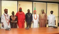 Ibe Kachikwu (Centre) with traditional rulers of Niger Delta during their visit to his office at Abuja