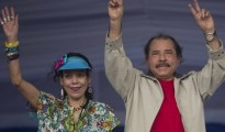 Nicaraguan president Daniel Ortega and his wife Rosario Murillo