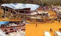 The Reigners Bible Church International Incorporation, Uyo, Akwa Ibom State, after it collapsed… on Saturday