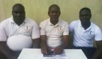 From left: Comr. Wisdom Enakireru (1st vice President UPU youth Lagos), comr. Austin Ojameruaye (President UPU youth Lagos) and comr. Emmanuel Atavwoda (PRO UPU youth Lagos). During a press briefing in Lagos on the Chief Omene saga