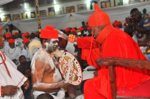 Chief Johnson Barovbe (The Aghwotu of Urhoboland) receiving his chieftaincy title from HRM Owhorode