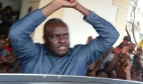 Chief James Onanefe Ibori, former governor of Delta State waving to friends, kinsmen and political associates on arrival at hos country home, Oghara, Delta State on Saturday, February 4, 2017