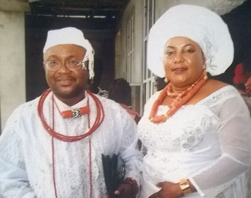President of Urhobo Progress Union (UPU) United Kingdom Chapter , Olorogun Barr. Emmanuel Okpako Ganiga, the Obakore of Agbon Kingdom and  his  wife, Olorogun (Mrs.) Helen Linda Ganiga, Orhie-Oghene of Agbon Kingdom