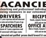 Examples of  fake jpb vacancies advert littering Nigerian streets