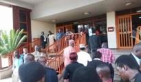 Dino Melaye stormed Abuja court yesterday