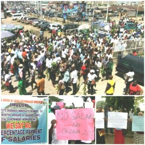 Council workers over non payment of salaries for thirteen months  on the streets of Warri and Effurun