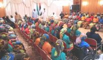 President Muhammadu Buhari addressing the released 82 Chibok school girls