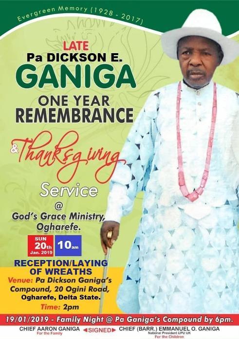 Urhobo Leader In United Kingdom, Ganiga To Mark  Father's One Year Remembrance