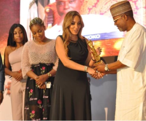 Nwoko's Neglected Wife, Laila Receives Award On His Behalf Whilst He Chills In Dubai With Regina