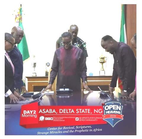 Open Heavens Crusade:Apostle Suleman Prays Okowa, Hails Landmark Achievements