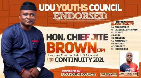 Udu Youth Council Endorses Jite Brown Re-Election As Chairman Of 2021 Council Polls