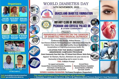 Graceland Diabetes Foundation, UK Rotary Clubs To Organise World Diabetes Awareness Programme In Delta