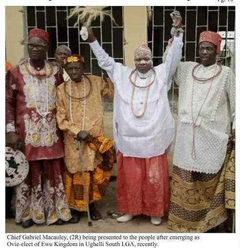 Macaulay's Emergence As Ovie-Elect Of Ewu Kingdom Was Keenly Contested- Prince Onemu