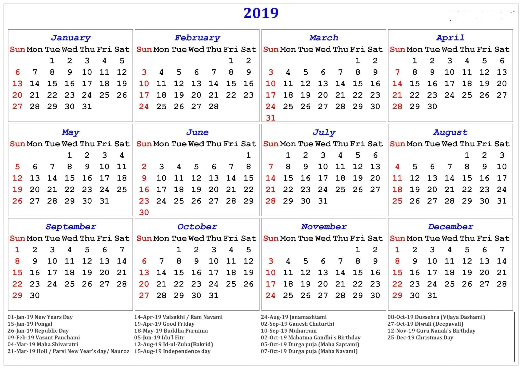 Find information about upcoming conferences, webinars, commemorative month activities, and other current events each month. Free Printable Calendar 2019 in PDF Word Excel Template