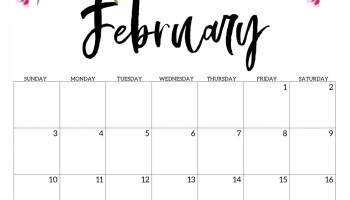 Cute February 2019 Calendar Printable Hd Wallpaper Floral Design
