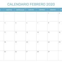 Calendario Febrero 2020 PDF Word Excel Imprimible Plantilla