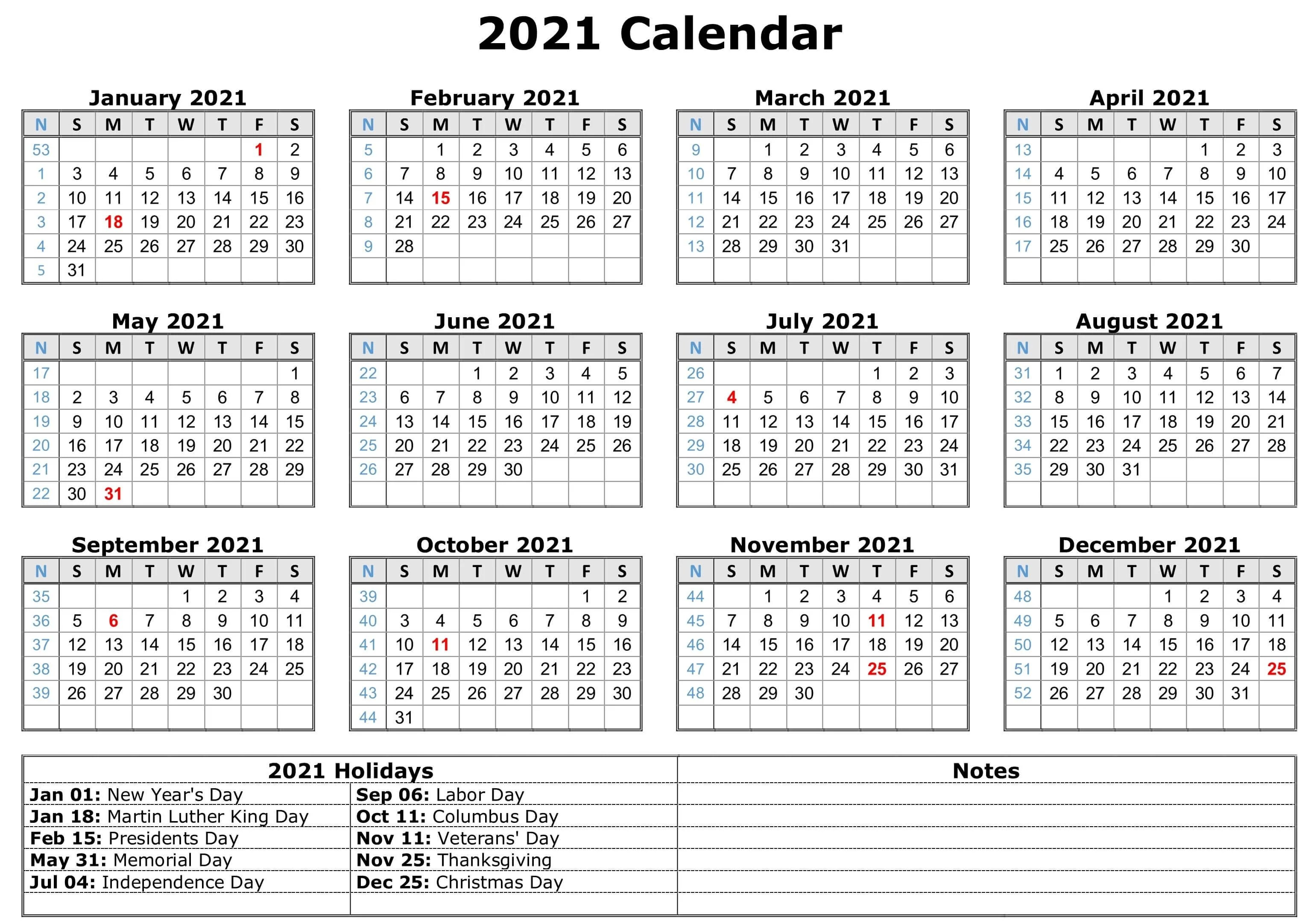 Sure, digital calendars are convenient — we can take them everyw. Free Yearly Printable Calendar 2021 with Holidays