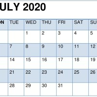Cute July 2020 Calendar Printable Template for Kids and Students