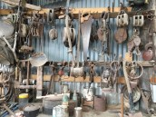 A wall of tools in the sawmill in Strahan