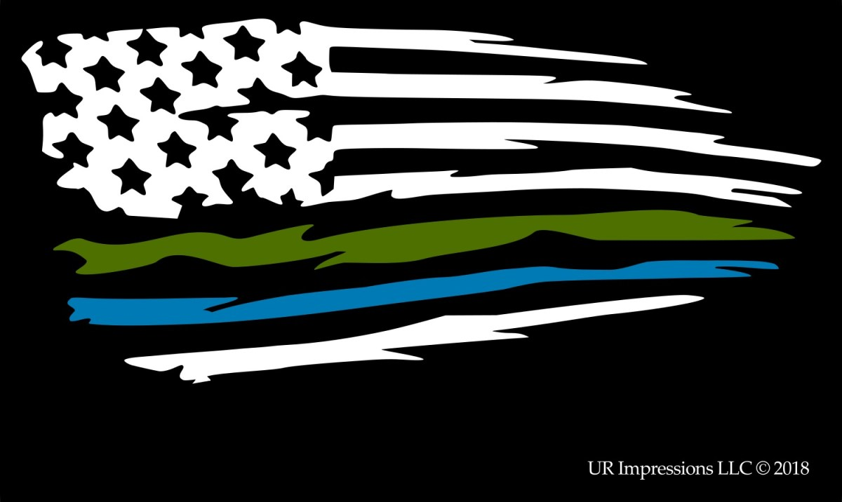 Red Line American Flag >> Thin Green and Azure Blue Line – Tattered American Flag ...