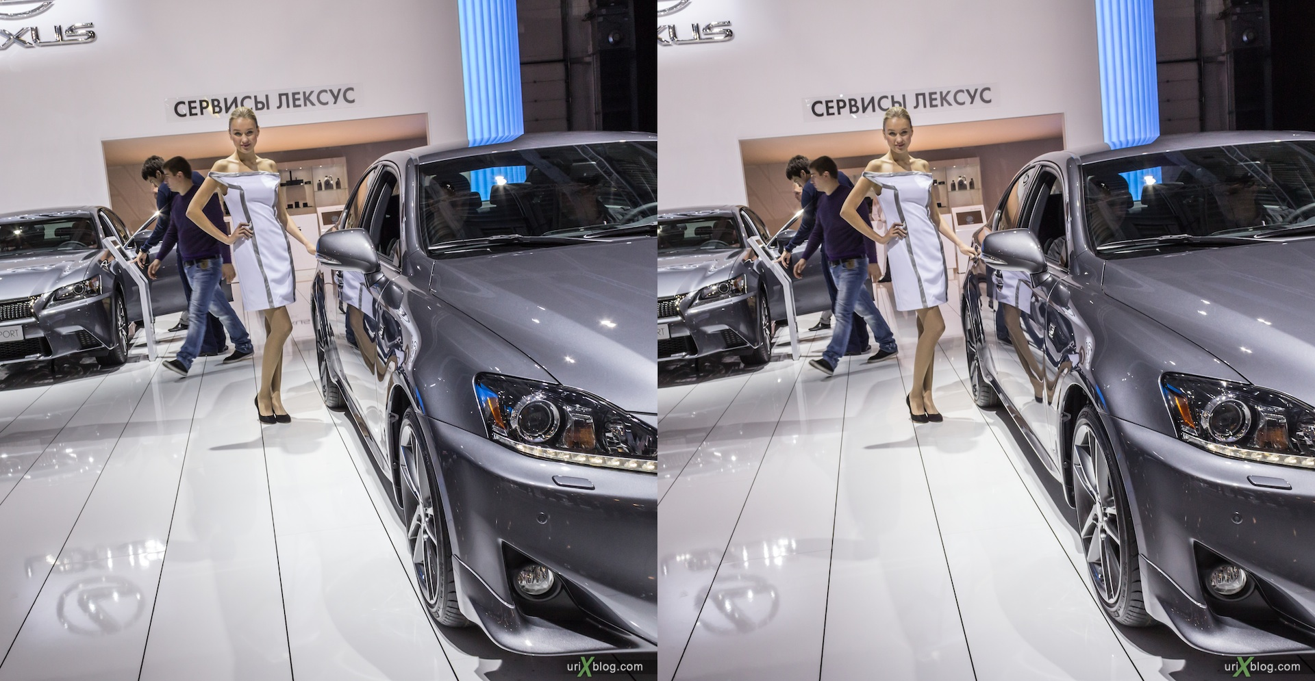 2012, Lexus IS 250, девушка, модель, girl, model, Moscow International Automobile Salon, auto show, 3D, stereo pair, cross-eyed, crossview