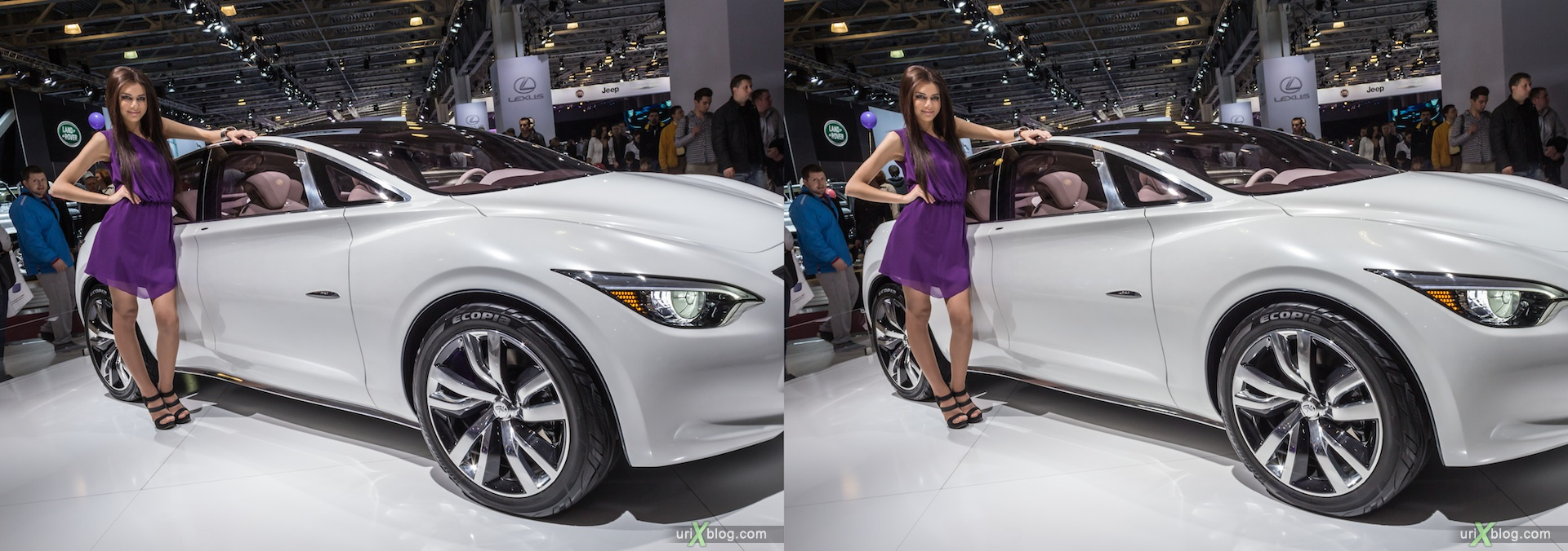 2012, Lexus, девушка, модель, girl, model, Moscow International Automobile Salon, auto show, 3D, stereo pair, cross-eyed, crossview