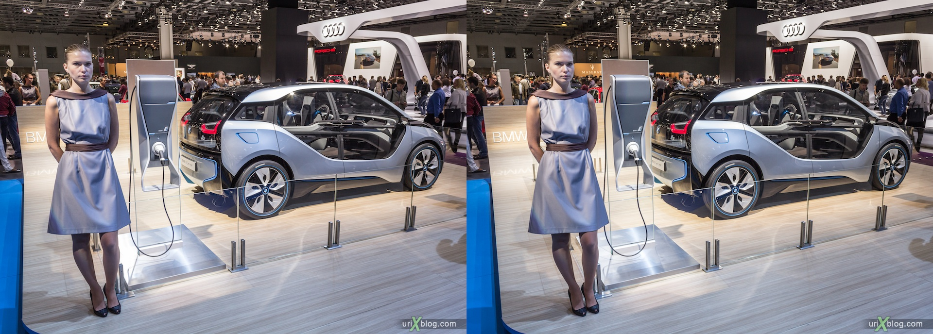 2012, BMW i3 Concept, девушка, модель, girl, model, Moscow International Automobile Salon, auto show, 3D, stereo pair, cross-eyed, crossview
