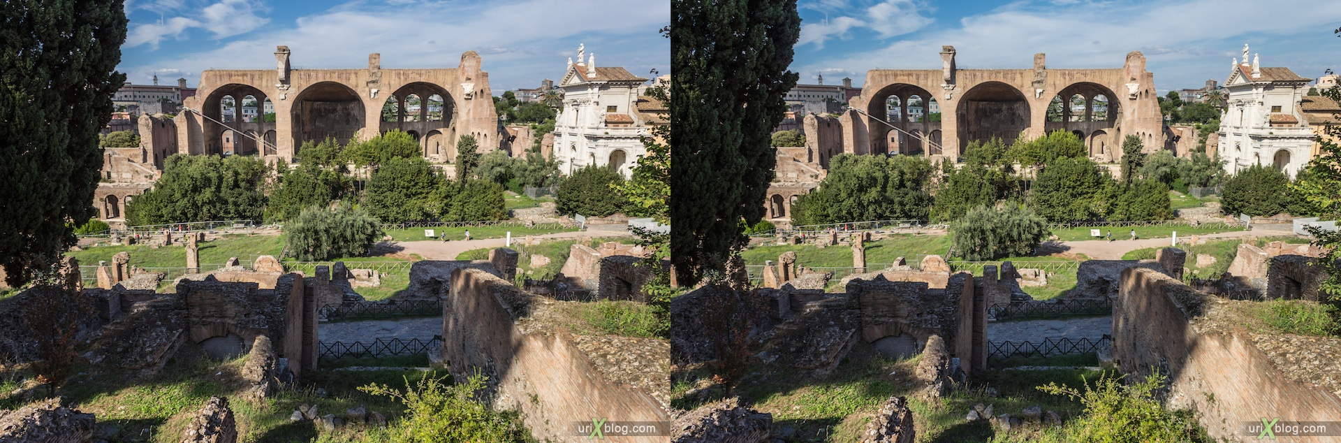 2012, Roman Forum, Palatine Hill, Rome, Italy, ancient rome, city, 3D, stereo pair, cross-eyed, crossview, cross view stereo pair