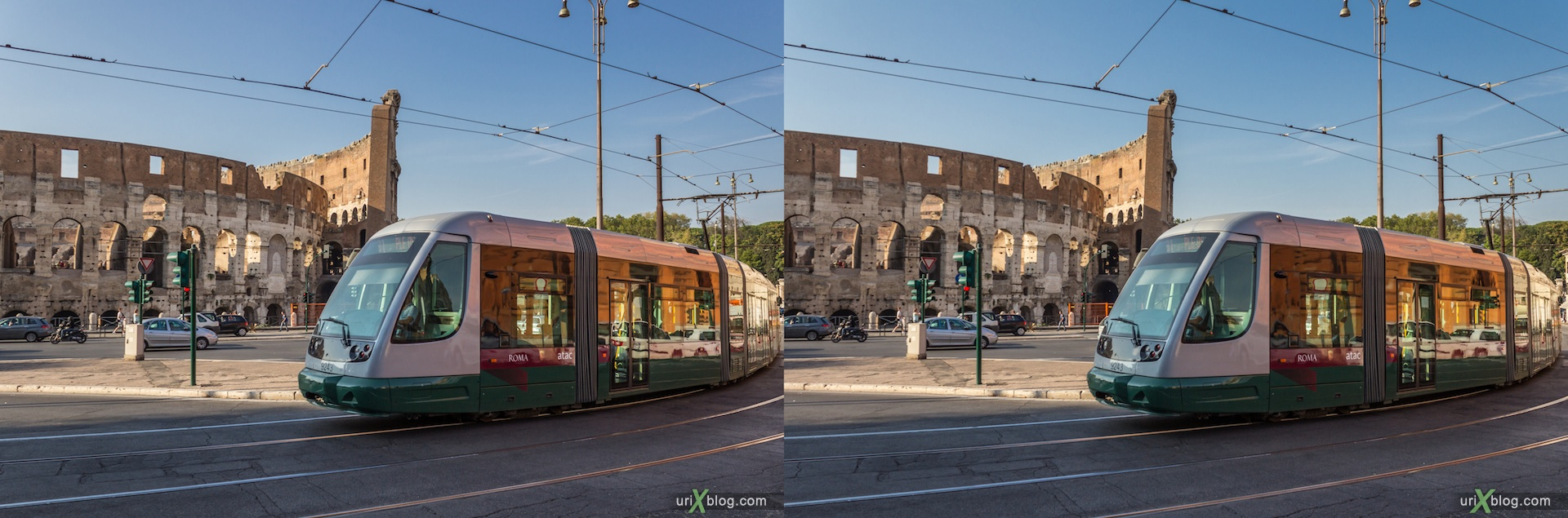 2012, Colosseum, Coliseum, Flavian Amphitheatre, Rome, Italy, 3D, stereo pair, cross-eyed, crossview, cross view stereo pair