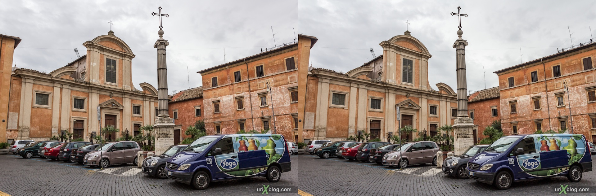 2012, San Francesco a Ripa church, Rome, Italy, cathedral, monastery, Christianity, Catholicism, 3D, stereo pair, cross-eyed, crossview, cross view stereo pair