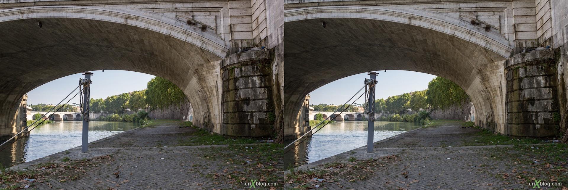 2012, набережная, мост Умберто первого, Рим, Италия, осень, 3D, перекрёстные стереопары, стерео, стереопара, стереопары