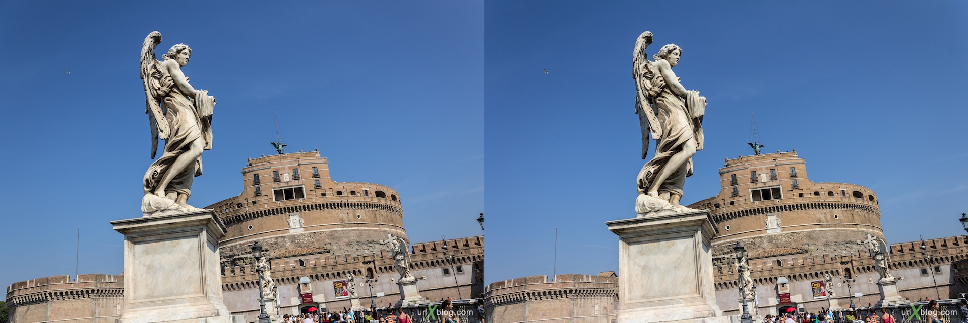 2012, Castel Sant Angelo, Mausoleum of Hadrian, bridge, 3D, stereo pair, cross-eyed, crossview, cross view stereo pair