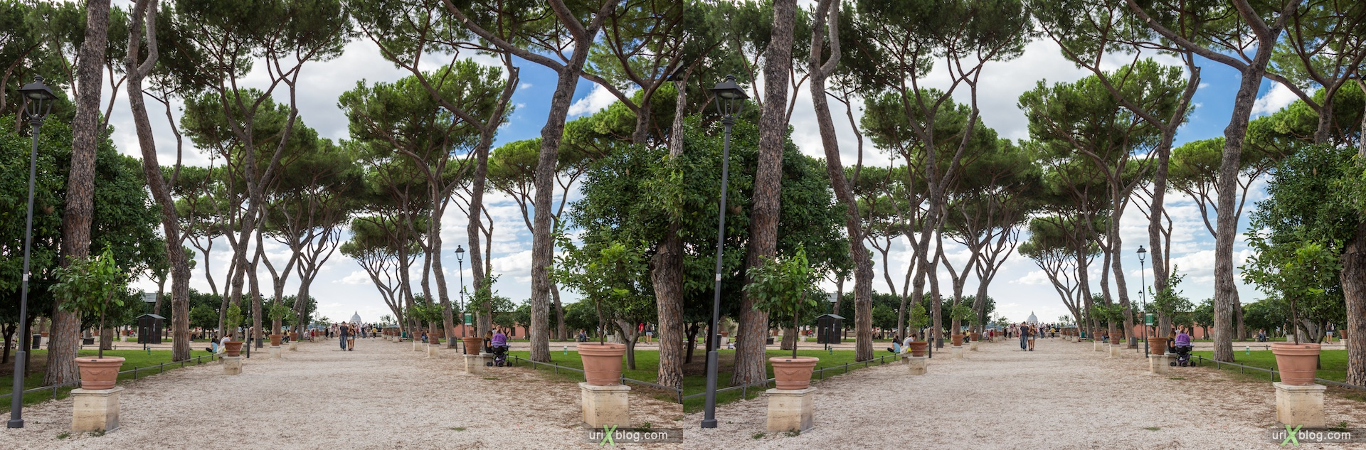 2012, garden of the oranges, Savello park, basilica of Santa Sabina, viewpoint, Rome, Italy, Europe, 3D, stereo pair, cross-eyed, crossview, cross view stereo pair