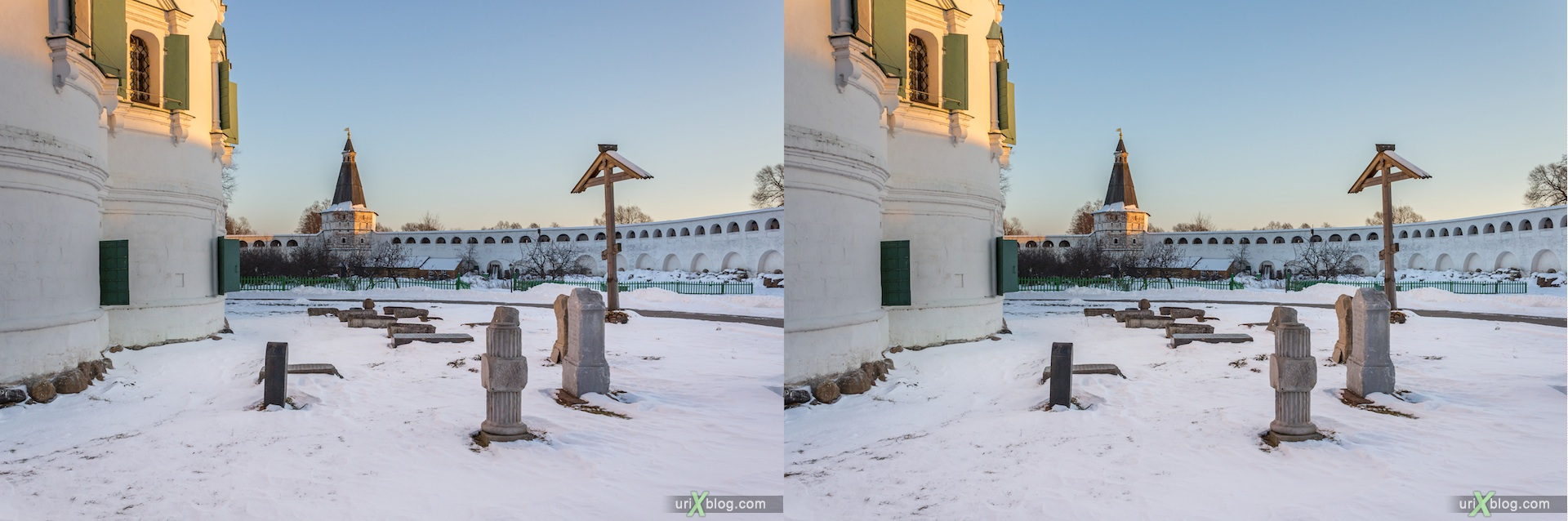 2012, Iosifo-Volotsky monastery, Moscow region, Russia, church, snow, winter, sunny, cold, 3D, stereo pair, cross-eyed, crossview, cross view stereo pair