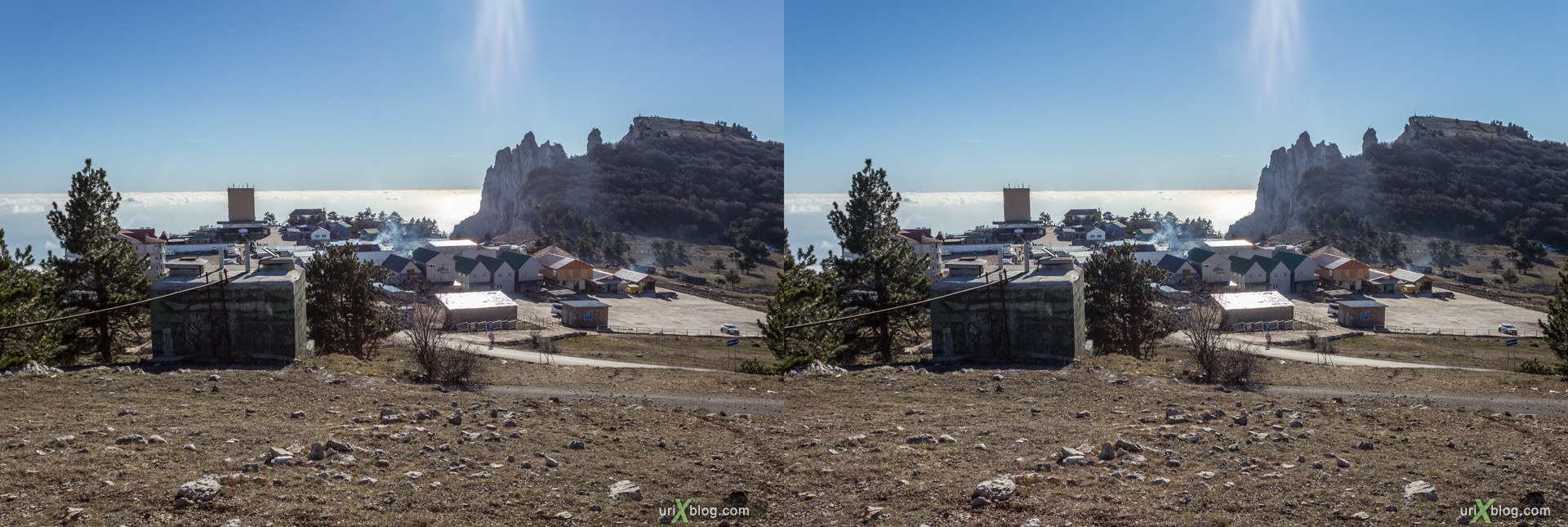 2012, Ai-Petri, mountains, Crimea, Russia, Ukraine, winter, 3D, stereo pair, cross-eyed, crossview, cross view stereo pair, stereoscopic
