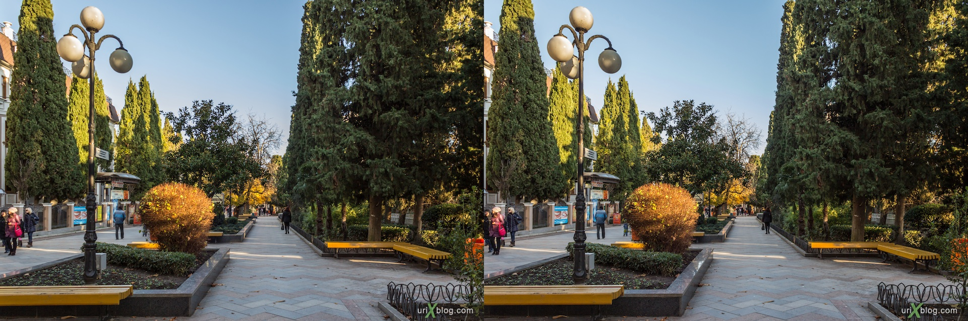2012, Pushkinskaya street, Yalta, evening, coast city, Crimea, Ukraine, 3D, stereo pair, cross-eyed, crossview, cross view stereo pair, stereoscopic