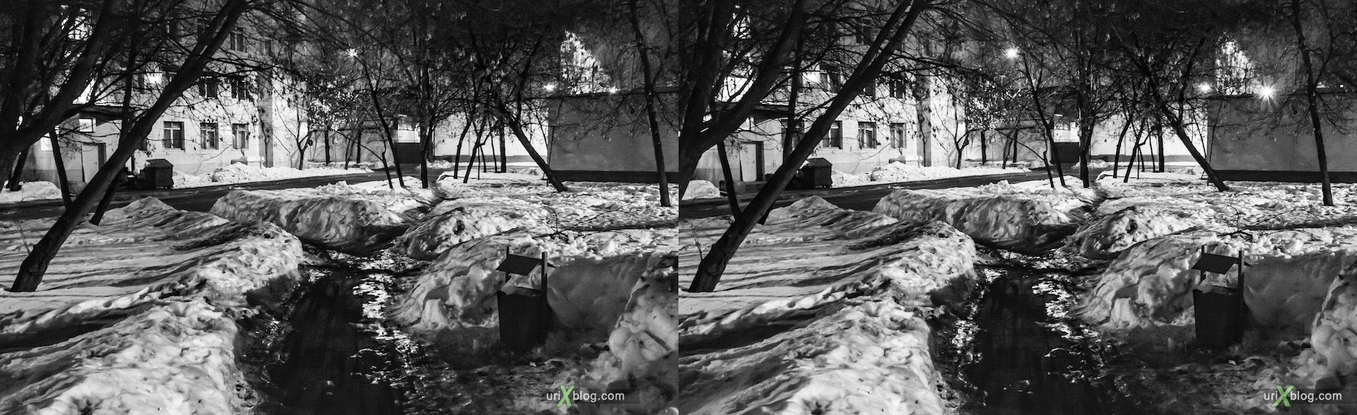 2013, Buzheninova street, night, evening, Moscow, Russia, winter, snow, dust, lantern, tree, building, 3D, stereo pair, cross-eyed, crossview, cross view stereo pair, stereoscopic