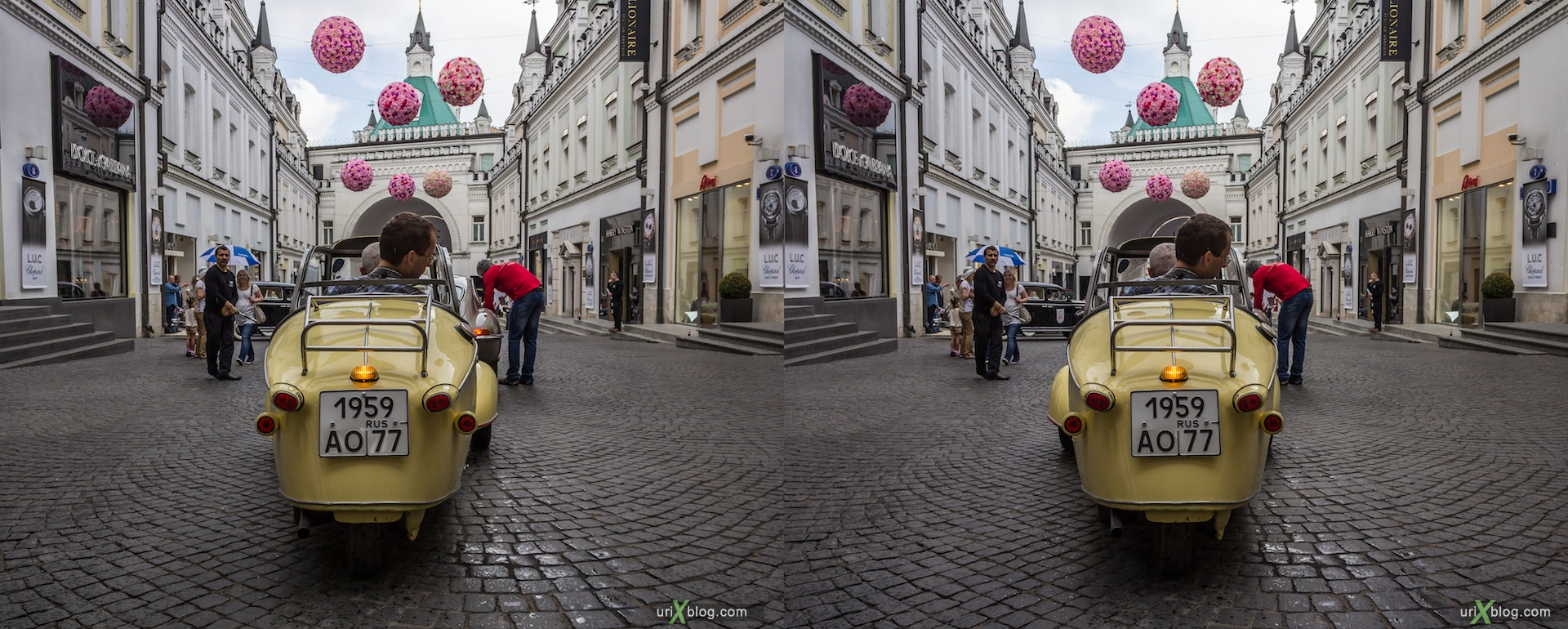 2013, old, automobile, rally, Moscow, Russia, 3D, stereo pair, cross-eyed, crossview, cross view stereo pair, stereoscopic