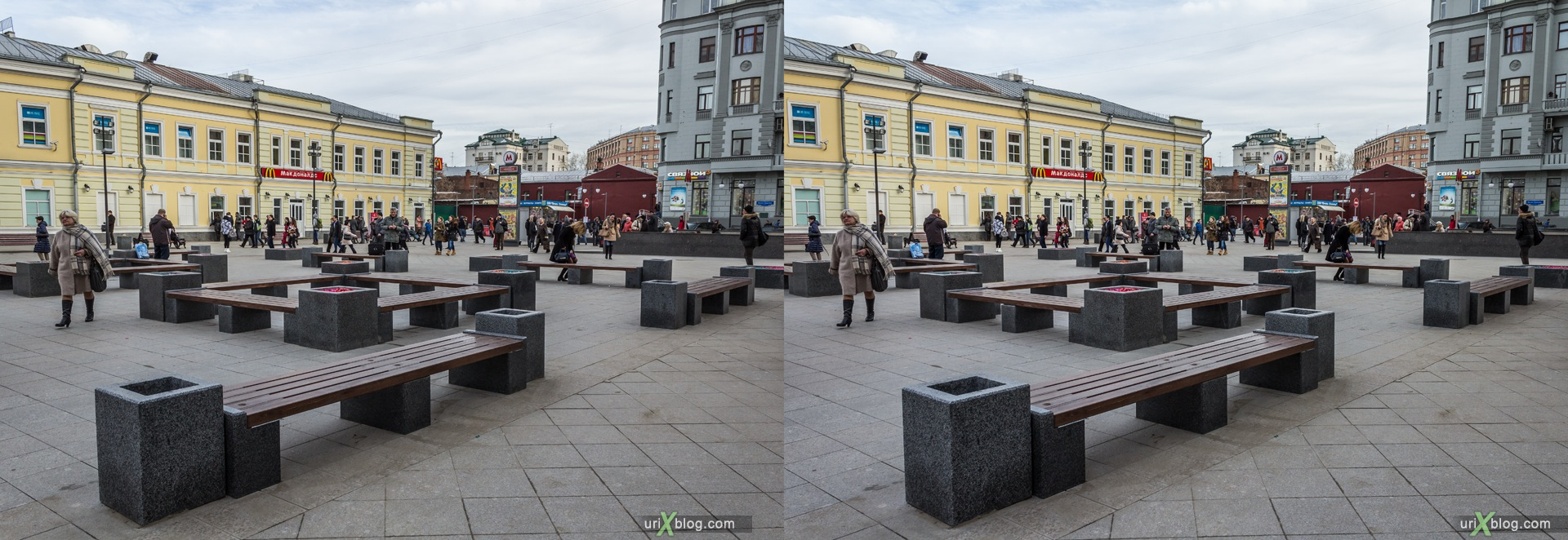 2013, Moscow, Russia, Tratjakovskaya, metro, square, street, new pedestrian zone, 3D, stereo pair, cross-eyed, crossview, cross view stereo pair, stereoscopic