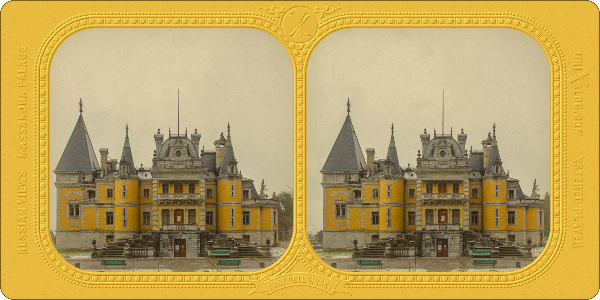 Massandra, Massandra palace, Alexander 3 palace, Yalta, Crimea, Russia, 3D, stereo pair, parallel-eyed, parallel view, stereoscopic, 2016, winter, snow, day