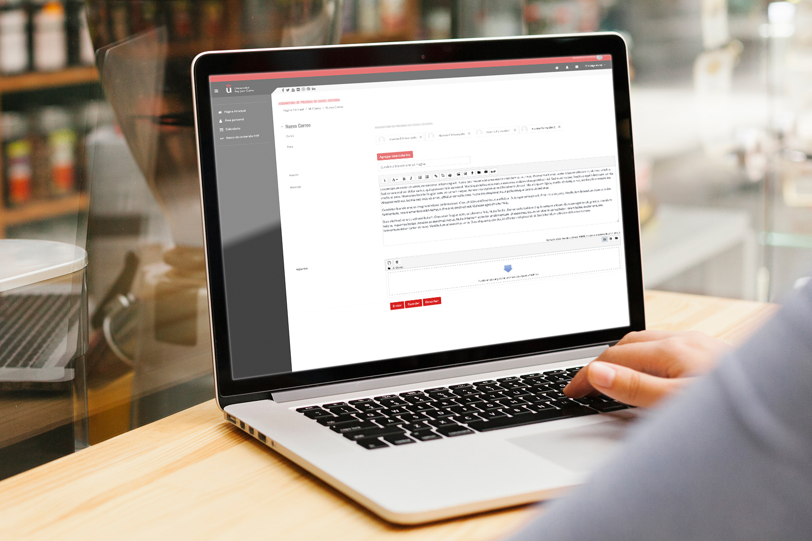 Ventana de redacción de correo de Aula Virtual