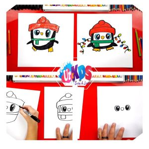 Art for Kids Hub-How To Draw A Christmas Penguin