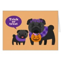 Trick Or Treat Pug Card