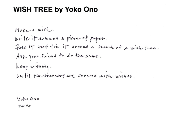 Yoko ono inscription for wish tree