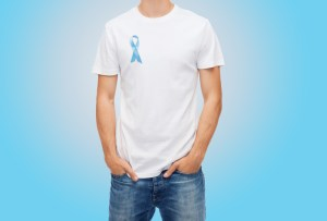 man in t-shirt with blue prostate cancer awareness ribbon