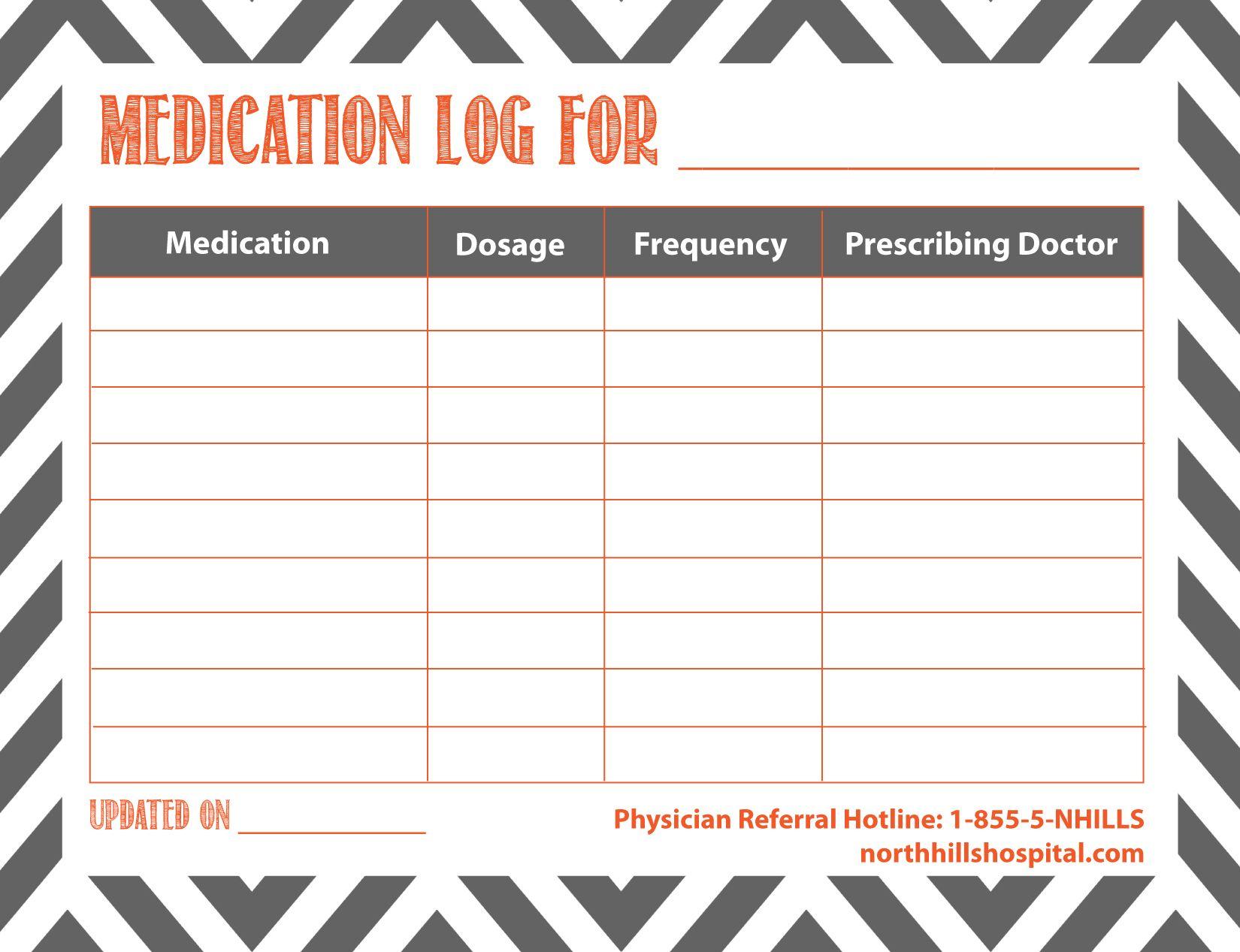 Medication Logs Printable