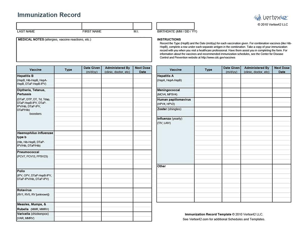 Printable Immunization Records