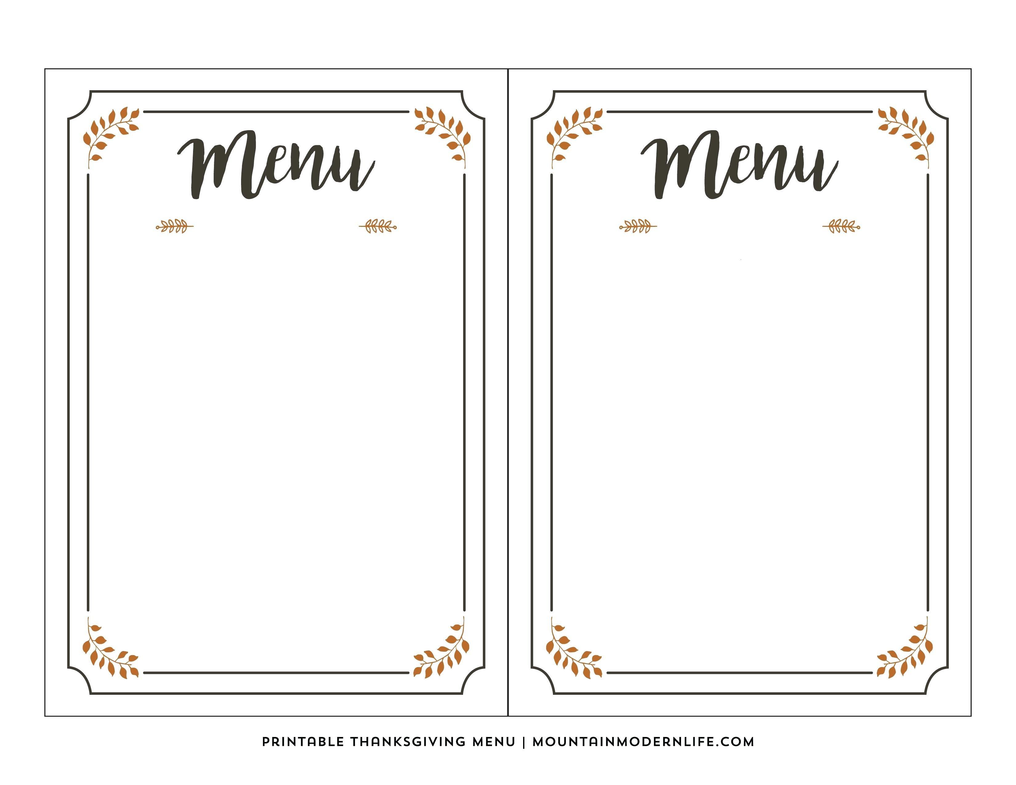 Printable Menus Template
