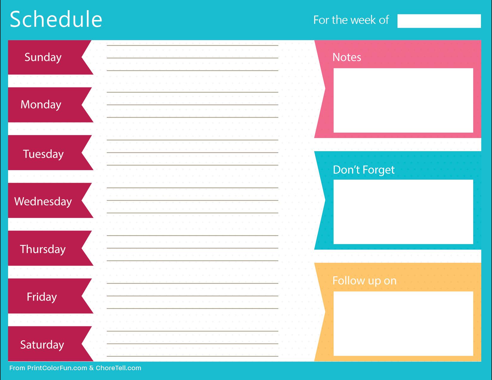 Printable Schedule Planner