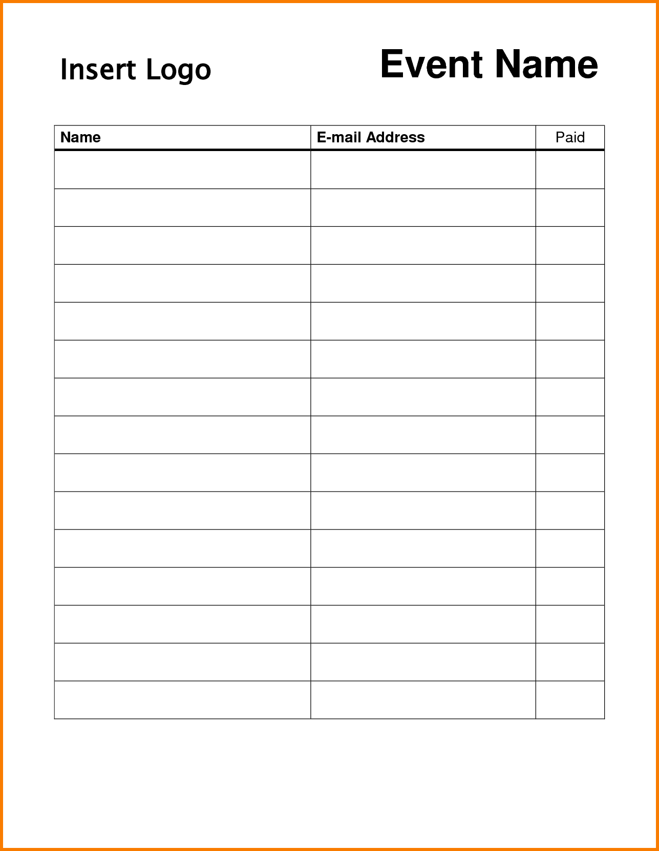 Printable Sign In Sheets